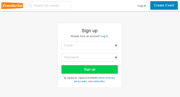 Eventbrite signup
