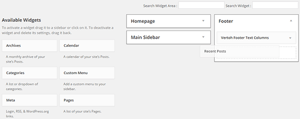 Other widgets in footer