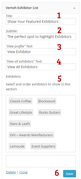 Vertoh exhibitors list widget