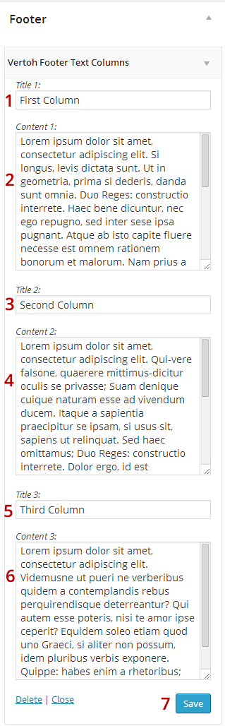 Vertoh Footer Text Columns Widget