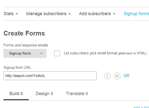 Obtaining mailchimp signup form url