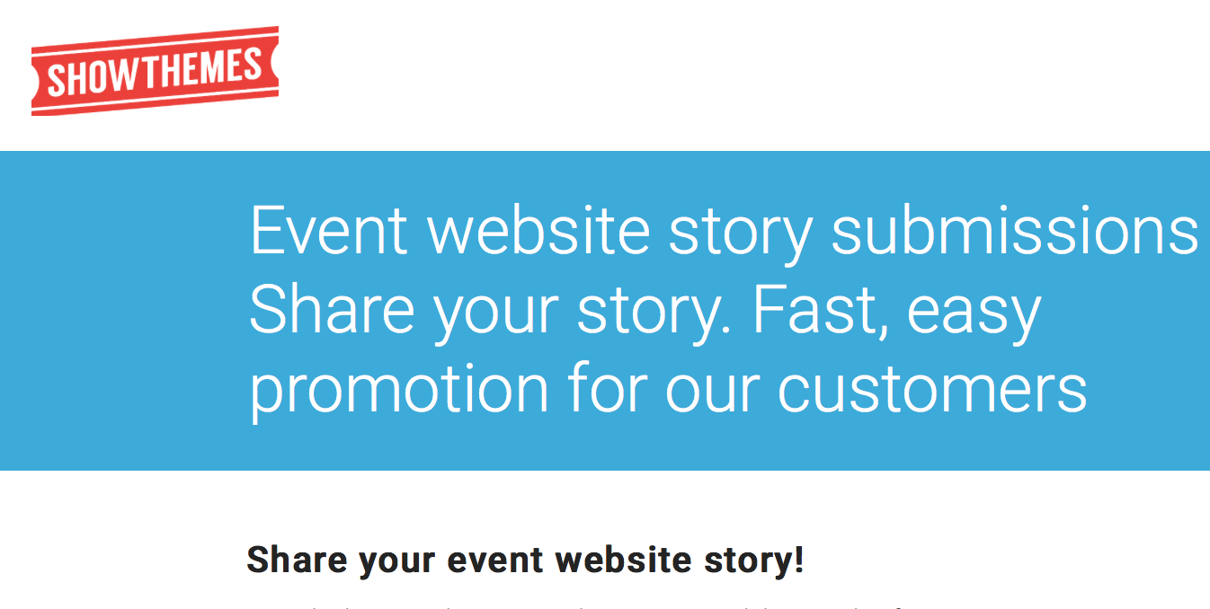 Event website story submission - Share your story