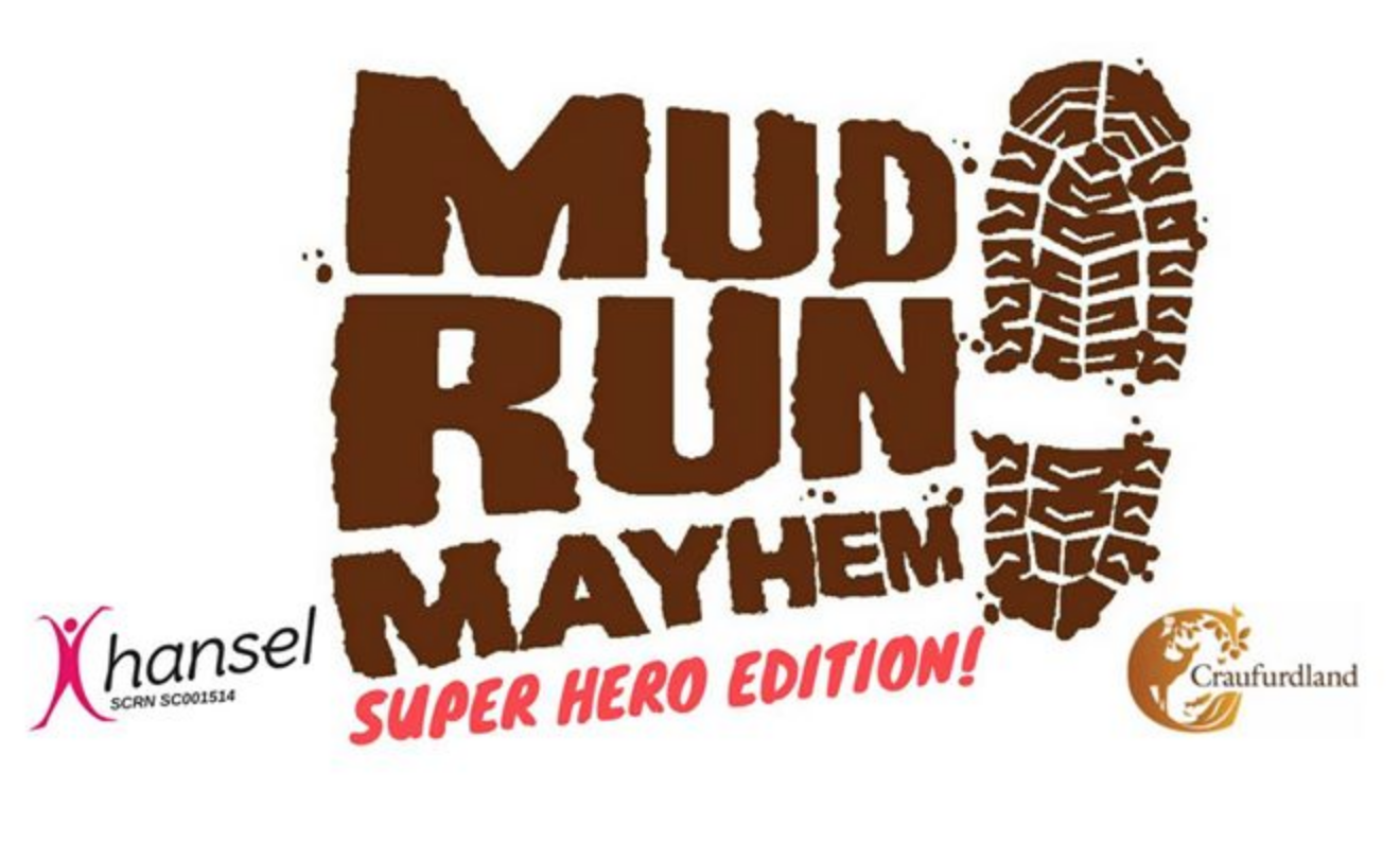 The Mud Run Mayhem logo is bold and powerful and does a great job of incorporating a long event name with relevant visuals.