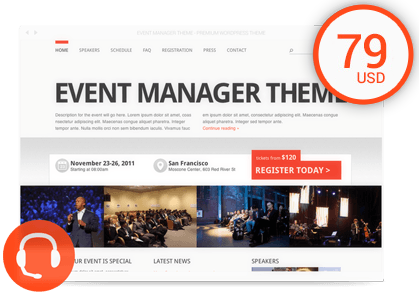 Buy Event Manager Theme Theme Plus 1 Year of Technical Support