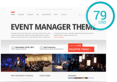 Buy Event Manager Theme Theme Only