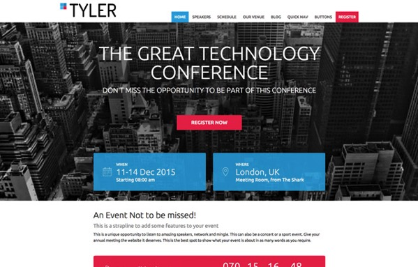 Screenshot of our WordPress conference theme