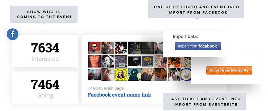 One Click Import from Facebook and Eventbrite