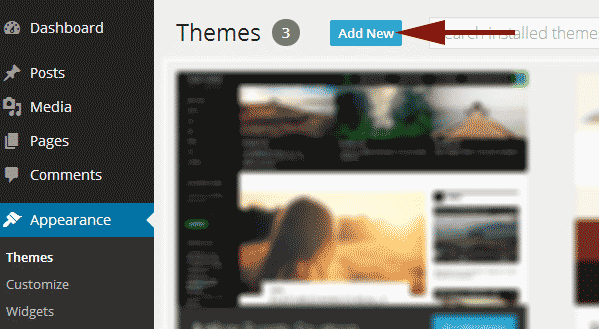 Click on Add New button on Themes screen in WordPress
