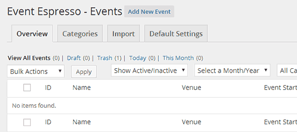 Create new event in EventEspresso