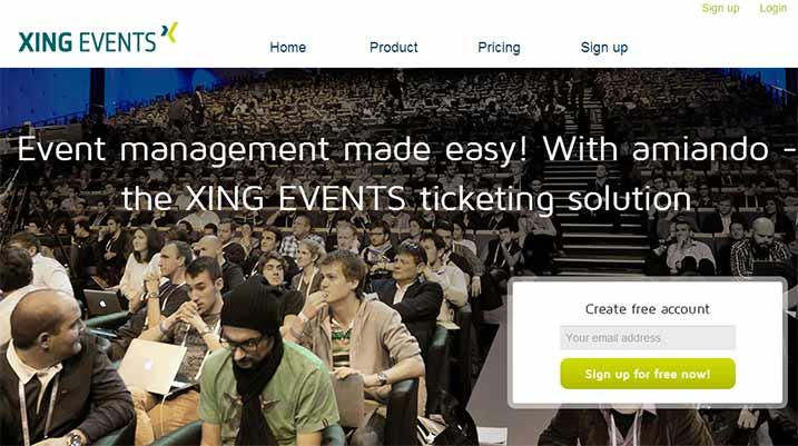 Xing Events - Create free account